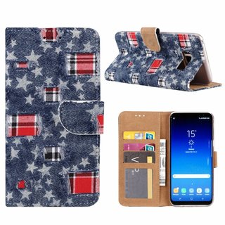 Spijkerbroek print lederen Bookcase hoesje voor de Samsung Galaxy S8 Plus - Blauw