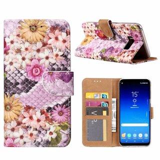 Slangen en Bloemen print lederen Bookcase hoesje voor de Samsung Galaxy S8 Plus - alle kleuren