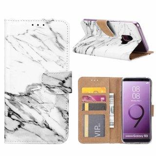 Marmer print lederen Bookcase hoesje voor de Samsung Galaxy S9 - Wit
