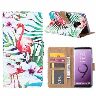 Flamingo print lederen Bookcase hoesje voor de Samsung Galaxy S9 - Wit
