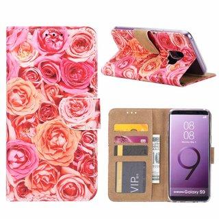 Rozen print lederen Bookcase hoesje voor de Samsung Galaxy S9 - Roze