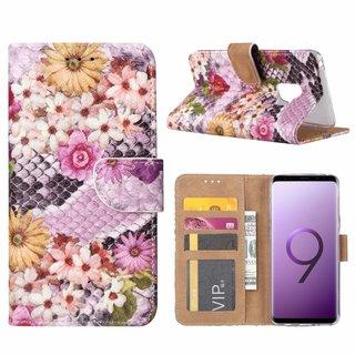 Slangen en Bloemen print lederen Bookcase hoesje voor de Samsung Galaxy S9 - alle kleuren