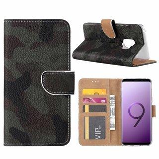 Leger Camouflage print lederen Bookcase hoesje voor de Samsung Galaxy S9