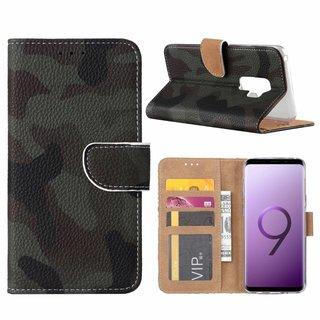 Leger Camouflage print lederen Bookcase hoesje voor de Samsung Galaxy S9 Plus