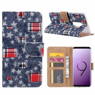 Spijkerbroek print lederen Bookcase hoesje voor de Samsung Galaxy S9 Plus - Blauw