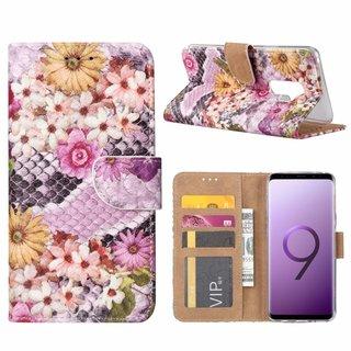 Slangen en Bloemen print lederen Bookcase hoesje voor de Samsung Galaxy S9 Plus - alle kleuren