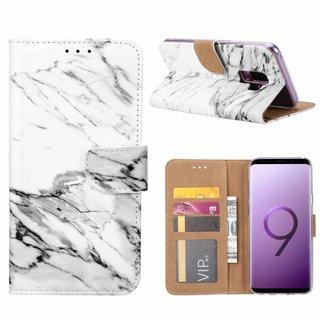Marmer print lederen Bookcase hoesje voor de Samsung Galaxy S9 Plus - Wit