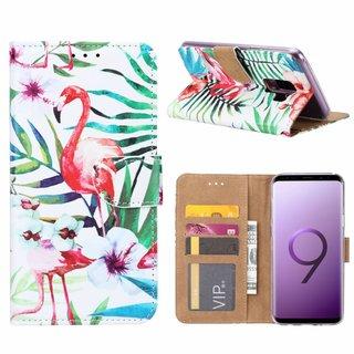 Flamingo print lederen Bookcase hoesje voor de Samsung Galaxy S9 Plus - Wit