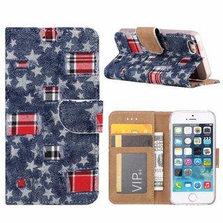 Spijkerbroek print lederen Bookcase hoesje voor de Apple iPhone 5S - Blauw