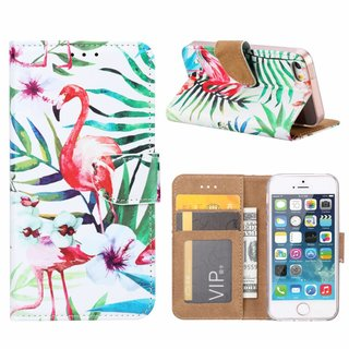 Flamingo print lederen Bookcase hoesje voor de Apple iPhone 5S - Wit