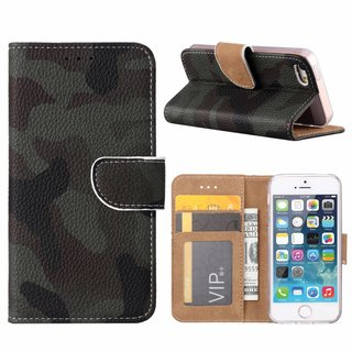 Leger Camouflage print lederen Bookcase hoesje voor de Apple iPhone SE
