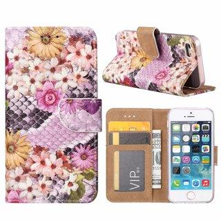 Slangen en Bloemen print lederen Bookcase hoesje voor de Apple iPhone SE - alle kleuren