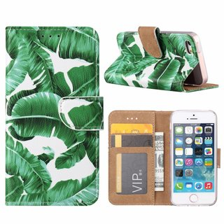 Planten print lederen Bookcase hoesje voor de Apple iPhone SE - Wit