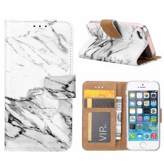 Marmer print lederen Bookcase hoesje voor de Apple iPhone SE - Wit