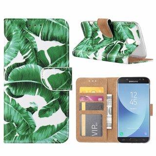 Planten print lederen Bookcase hoesje voor de Samsung Galaxy J5 2017 - Wit