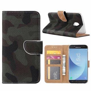 Leger Camouflage print lederen Bookcase hoesje voor de Samsung Galaxy J5 2017
