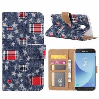 Spijkerbroek print lederen Bookcase hoesje voor de Samsung Galaxy J5 2017 - Blauw