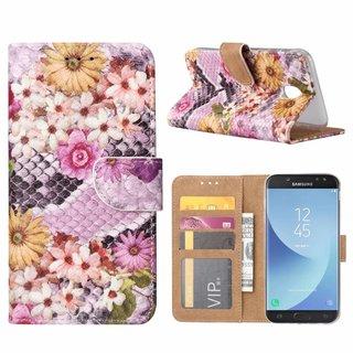 Slangen en Bloemen print lederen Bookcase hoesje voor de Samsung Galaxy J5 2017 - alle kleuren