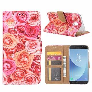 Rozen print lederen Bookcase hoesje voor de Samsung Galaxy J5 2017 - Roze