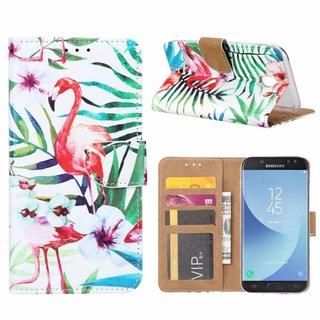 Flamingo print lederen Bookcase hoesje voor de Samsung Galaxy J5 2017 - Wit