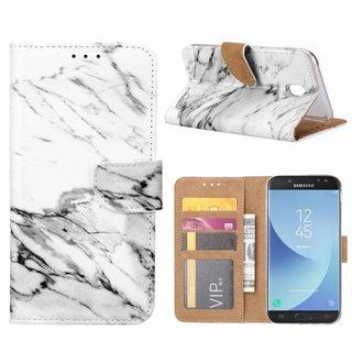 Marmer print lederen Bookcase hoesje voor de Samsung Galaxy J5 2017 - Wit