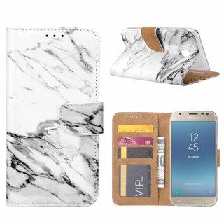 Marmer print lederen Bookcase hoesje voor de Samsung Galaxy J3 2017 - Wit