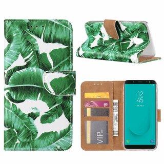 Planten print lederen Bookcase hoesje voor de Samsung Galaxy J6 2018 - Wit