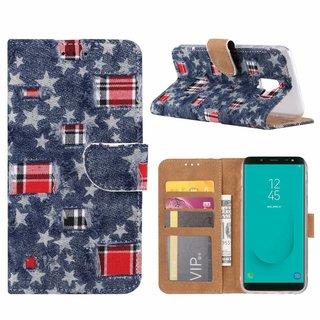Spijkerbroek print lederen Bookcase hoesje voor de Samsung Galaxy J6 2018 - Blauw