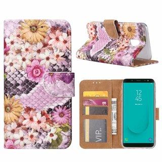 Slangen en Bloemen print lederen Bookcase hoesje voor de Samsung Galaxy J6 2018 - alle kleuren