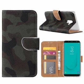 Leger Camouflage print lederen Bookcase hoesje voor de Samsung Galaxy J6 2018