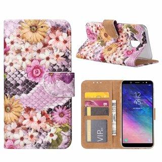 Slangen en Bloemen print lederen Bookcase hoesje voor de Samsung Galaxy A6 2018 - alle kleuren