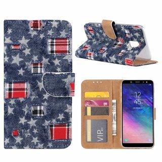 Spijkerbroek print lederen Bookcase hoesje voor de Samsung Galaxy A6 2018 - Blauw