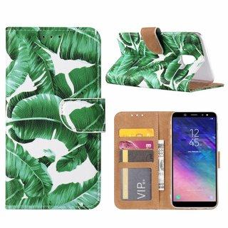 Planten print lederen Bookcase hoesje voor de Samsung Galaxy A6 2018 - Wit