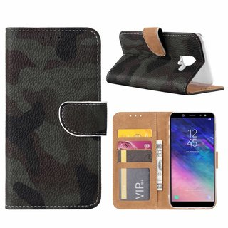 Leger Camouflage print lederen Bookcase hoesje voor de Samsung Galaxy A6 2018