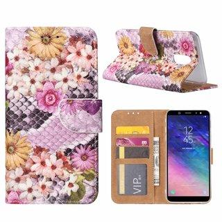 Slangen en Bloemen print lederen Bookcase hoesje voor de Samsung Galaxy A6 Plus 2018 - alle kleuren