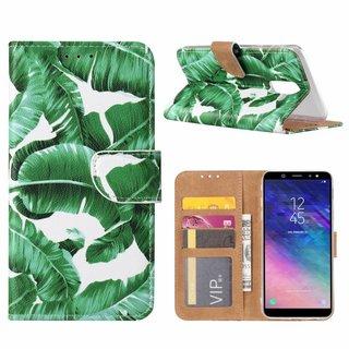 Planten print lederen Bookcase hoesje voor de Samsung Galaxy A6 Plus 2018 - Wit