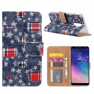 Spijkerbroek print lederen Bookcase hoesje voor de Samsung Galaxy A6 Plus 2018 - Blauw