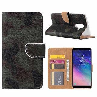 Leger Camouflage print lederen Bookcase hoesje voor de Samsung Galaxy A6 Plus 2018