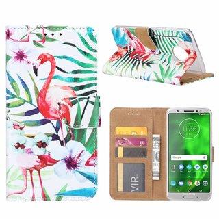 Flamingo print lederen Bookcase hoesje voor de Motorola Moto G6 Plus - Wit