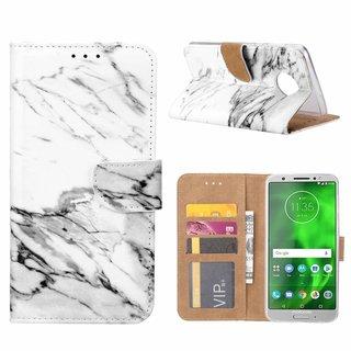 Marmer print lederen Bookcase hoesje voor de Motorola Moto G6 Plus - Wit