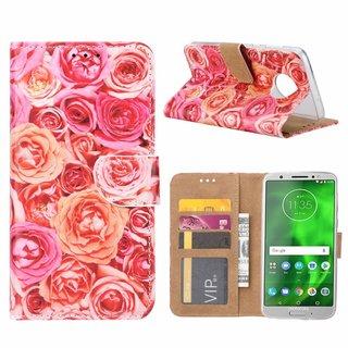 Rozen print lederen Bookcase hoesje voor de Motorola Moto G6 - Roze