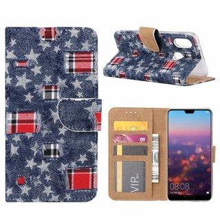 Spijkerbroek print lederen Bookcase hoesje voor de Huawei P20 Lite - Blauw