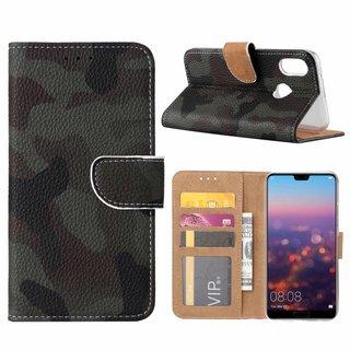 Leger Camouflage print lederen Bookcase hoesje voor de Huawei P20 Lite