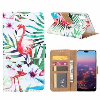 Flamingo print lederen Bookcase hoesje voor de Huawei P20 Lite - Wit