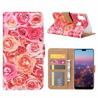 Rozen print lederen Bookcase hoesje voor de Huawei P20 Lite - Roze