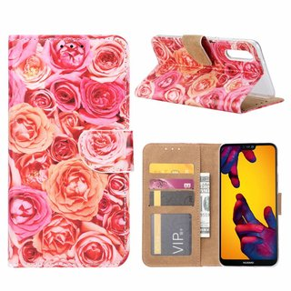 Rozen print lederen Bookcase hoesje voor de Huawei P20 - Roze