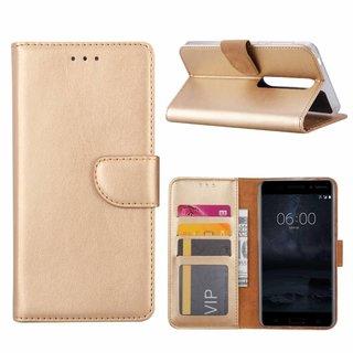 Bookcase Nokia 6.1 hoesje - Goud