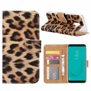 Panter print lederen Bookcase hoesje voor de Samsung Galaxy J6 2018