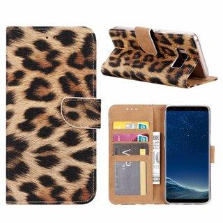 Panter print lederen Bookcase hoesje voor de Samsung Galaxy S8