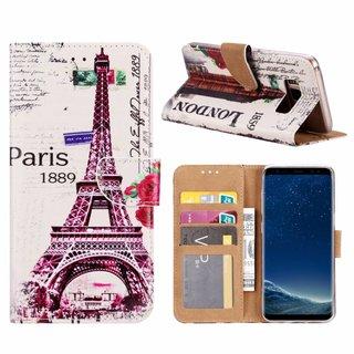 Parijs print lederen Bookcase hoesje voor de Samsung Galaxy S8 - Wit